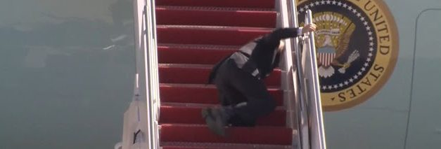 WATCH: Biden Stumbles, Falls Multiple Times While Climbing Steps to Air Force One
